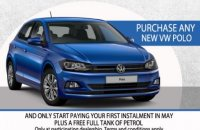 Purchase any NEW VW POLO and only start paying in MAY. Plus get a FREE tank of Petrol.